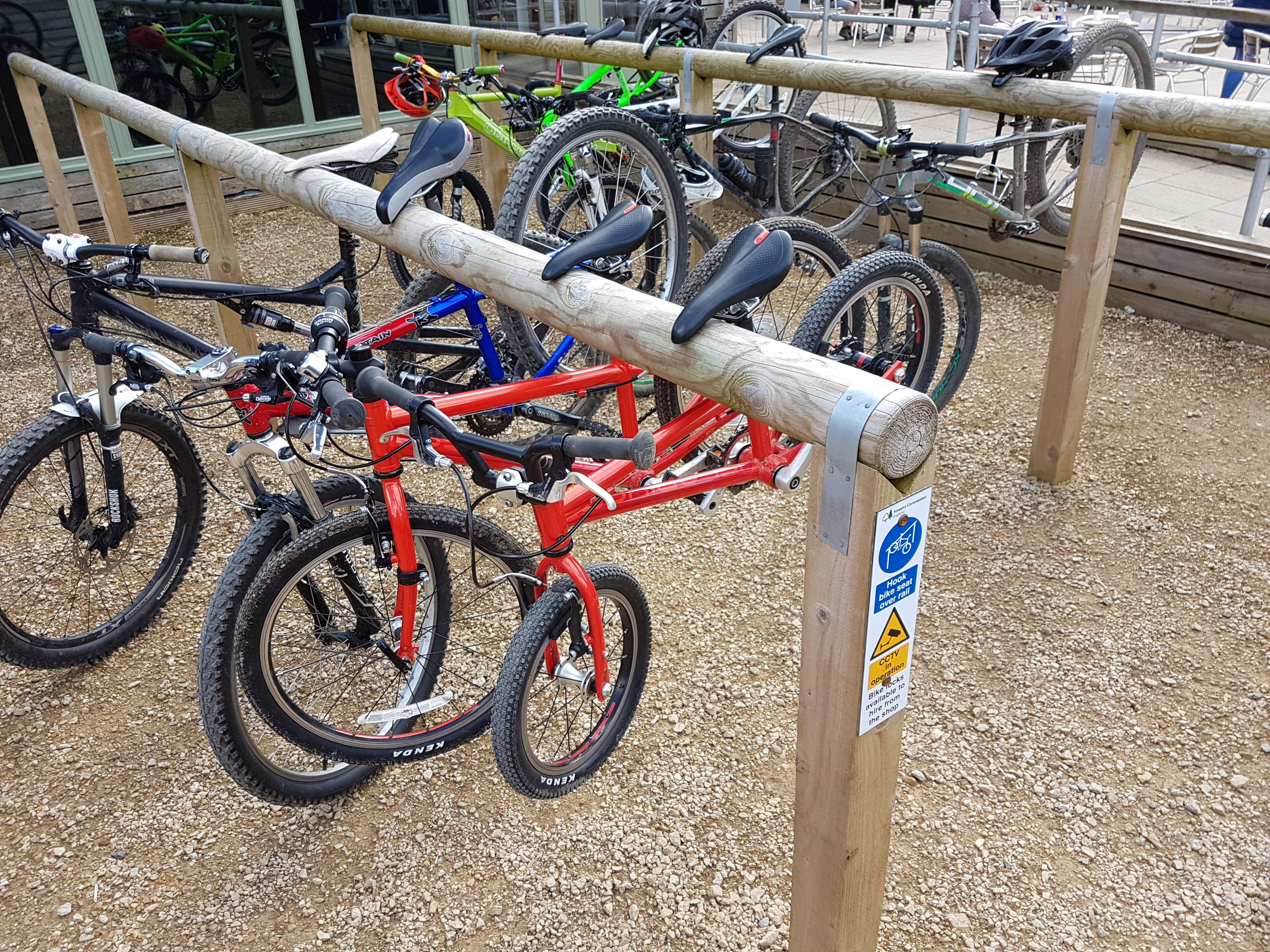 Bike Parking by the cafe at Dalby Forest Visitor Centre